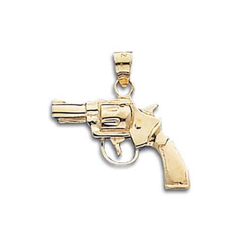 14kt Yellow Gold 3/4in Revolver Gun Pendant