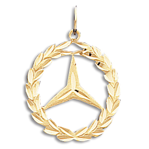 14kt yellow gold 3 4in mercedes wreath pendant crm 8034 for Mercedes benz pendant