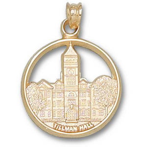 14kt Yellow Gold 3/4in Clemson Tillman Hall Pendant