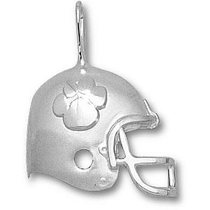 Sterling Silver 3/4in Clemson University Helmet Pendant