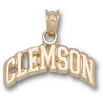 14kt Yellow Gold 1/4in Clemson Tigers Arched Pendant