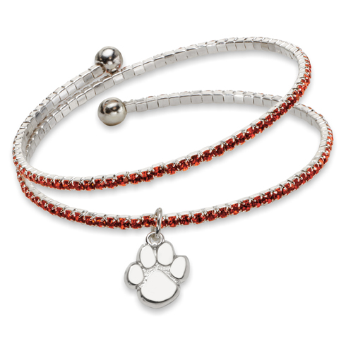 Clemson University Amped Logo Crystal Bracelet