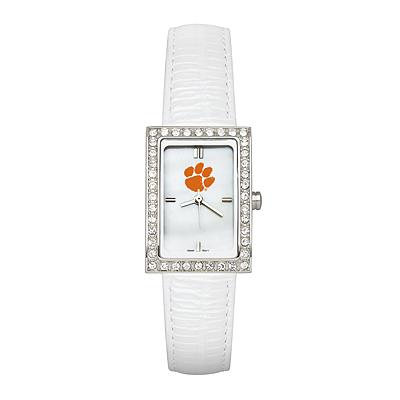 Clemson University Ladies Allure Watch White Leather Strap