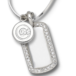 Sterling Silver Chicago Cubs Mini Dog Tag Necklace