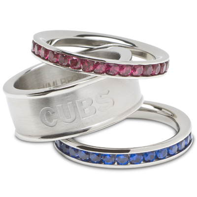 Chicago Cubs Logo Crystal Stacked Ring Set Size 6