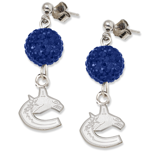 Sterling Silver Vancouver Canucks Crystal Ovation Earrings