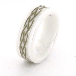 White Ceramic 7mm Ring with Braid Design and Rounded Edges