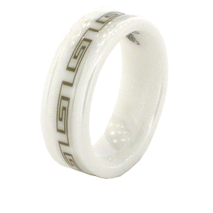 White Ceramic 7mm Ring with Greek Key Design and Rounded Edges