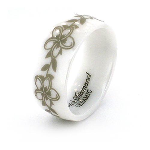 8mm Domed White Ceramic Ring with Flower Design