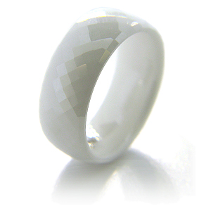 White Ceramic 8mm Domed Diamond Plate Ring