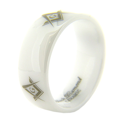 8mm Domed White Ceramic Masonic Ring G Compass & Square Times Four