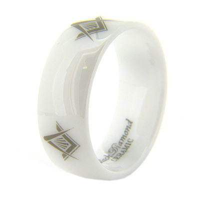 8mm Domed White Ceramic Masonic Ring Compass & Square Times Four