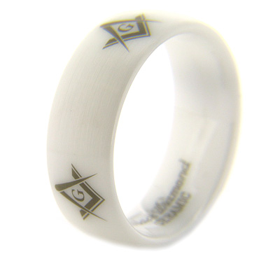 8mm Domed White Satin Ceramic Masonic Ring G Compass & Square Times Four