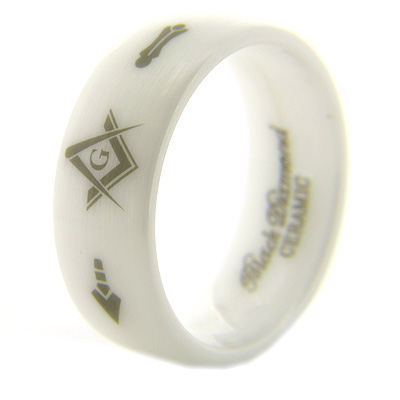 8mm Domed White Satin Ceramic Masonic Ring G Compass & Square, Plumb & Trowel