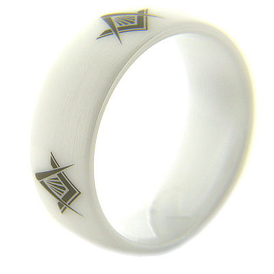 8mm Domed White Satin Ceramic Masonic Ring Compass & Square Times Four