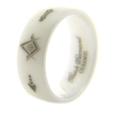8mm Domed White Satin Ceramic Masonic Ring Compass & Square, Plumb & Trowel
