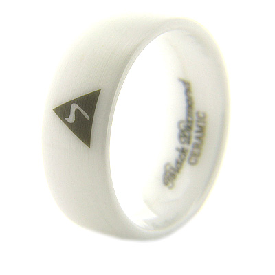 8mm Domed White Satin Ceramic Scottish Rite Ring