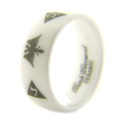 8mm Domed White Satin Ceramic Scottish Rite Eagle Ring