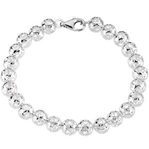 Sterling Silver 8in Hollow Bead Bracelet 8mm