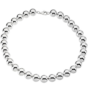 Sterling Silver 18in Hollow Bead Necklace 14mm