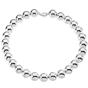 Sterling Silver 16in Bead Necklace 16mm