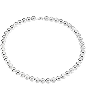 Sterling Silver 8in Hollow Bracelet with 10mm Beads