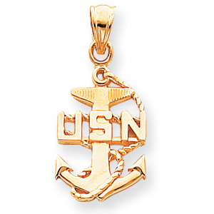 14kt Yellow Gold 7/8in U.S. Navy Anchor Pendant
