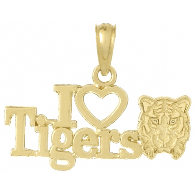 14kt Yellow Gold 16mm I Love Tigers Pendant