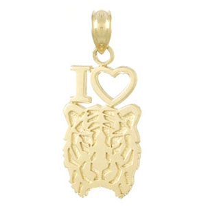 14kt Yellow Gold 23mm I Love Tigers Head Pendant
