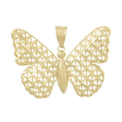 14kt Yellow Gold 28mm Lattice Wing Butterfly Pendant