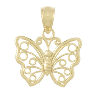 14kt Yellow Gold 15mm Cut-Out Butterfly Pendant