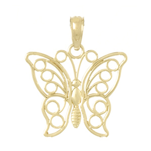 14kt Yellow Gold 19mm Filigree Butterfly Pendant