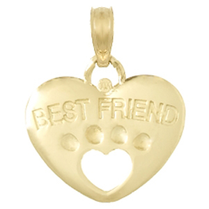 14kt Yellow Gold 17mm 3-D Dog Best Friend Pendant