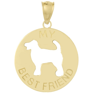 14kt Yellow Gold 3/4in My Best Friend Dog Pendant