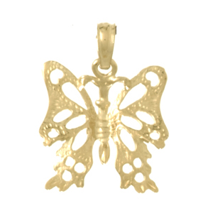 14kt Yellow Gold 20mm Cut-Out Butterfly Pendant