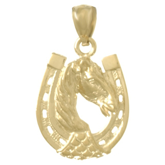 14kt Yellow Gold 24mm Horse Shoe Pendant