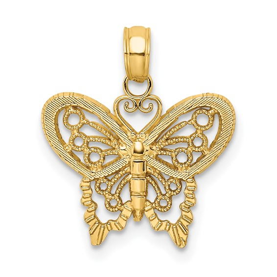 14kt Yellow Gold 19mm Cut-Out Butterfly Pendant