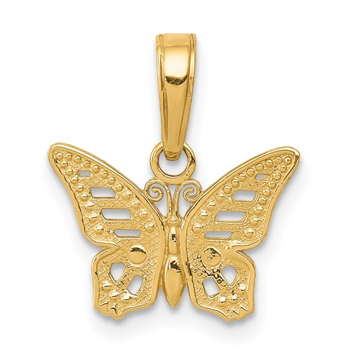 14kt Yellow Gold 13mm Butterfly Pendant