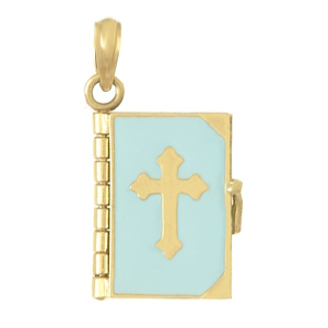 Holy Bible 14kt Yellow Gold Pendant with Blue Enamel