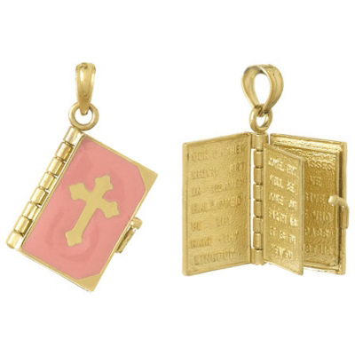 Holy Bible 14kt Yellow Gold Pendant with Pink Enamel