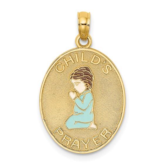 Boy Praying 14kt Yellow Gold Pendant with Enamel