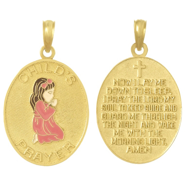 Girl Praying 14kt Yellow Gold Pendant with Enamel