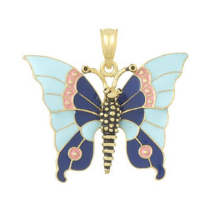 14kt Yellow Gold 25mm Blue Enamel Butterfly Pendant