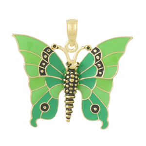 14kt Yellow Gold 25mm Green Enamel Butterfly Pendant