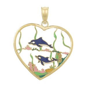 14kt Yellow Gold 28mm Dolphin Heart Pendant with Enamel