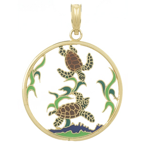 14kt Yellow Gold 30mm Sea Turtle Pendant with Enamel