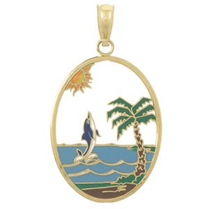 14kt Yellow Gold 32mm Dolphin Pendant with Enamel