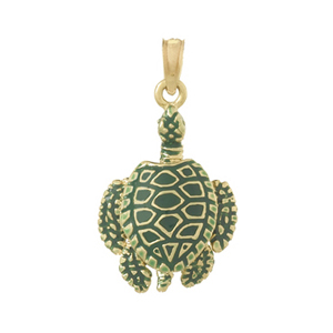 14kt Yellow Gold 1in 3-D Sea Turtle Pendant with Enamel