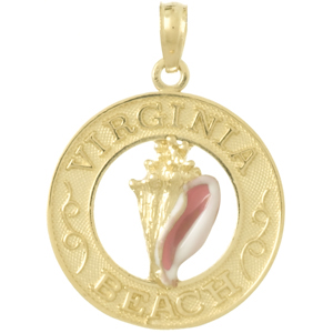 14k Yellow Gold Virginia Beach Pendant with Conch 3/4in