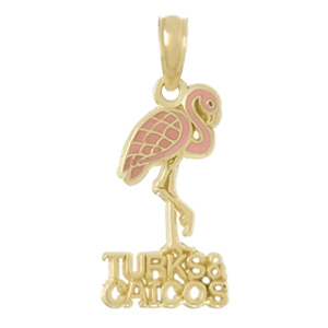 14kt Yellow Gold 22mm Turks and Caicos Pendant with Enamel